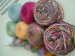 Silk Mohair, Silk Pearl, Beaded Mohair & Sequins (all Artyarns)