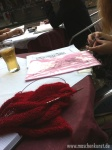 Knitting in the evening at our favorite Italian...Abends strickend bei unserem Lieblingsitaliener