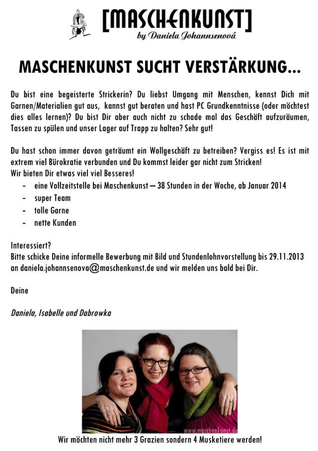 Maschenkunst - Mitarbeiter - Anzeige