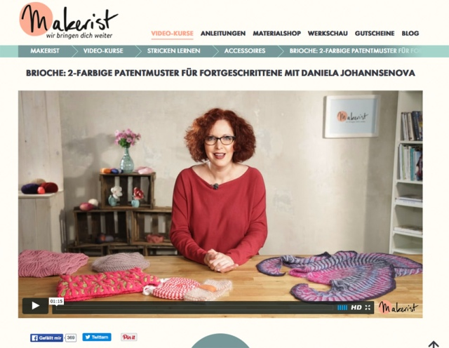 Patent - Brioche Muster - Video Kurs mit Daniela Johannsenova auf Makerist